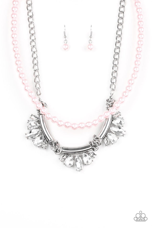 Paparazzi Bow Before The Queen - Pink Pearls Rhinestone Necklace - Life of the Party Exclusive July 2019