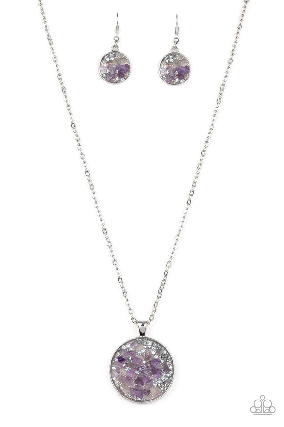 Paparazzi GLAM Crush Monday - Purple - Rock and Silver Beads - Necklace and matching Earrings