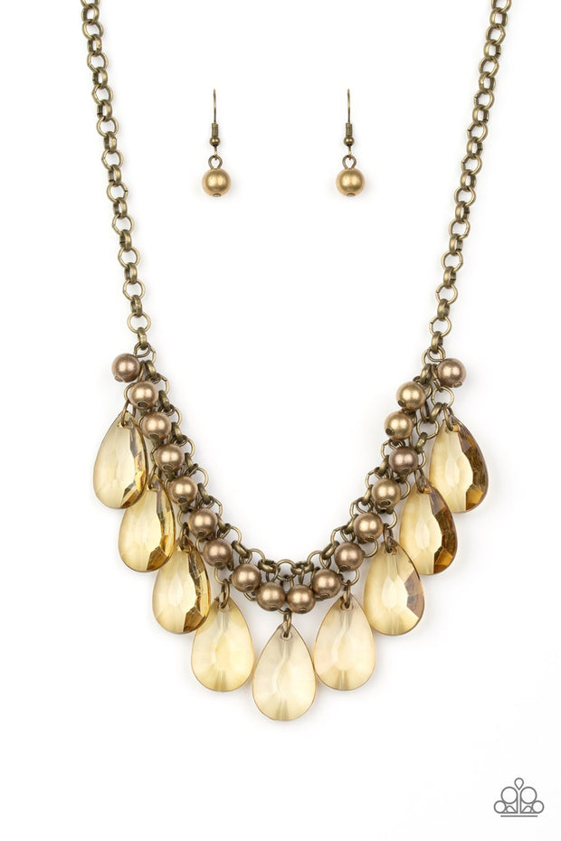 Paparazzi Fashionista Flair - Brass - Necklace & Earrings