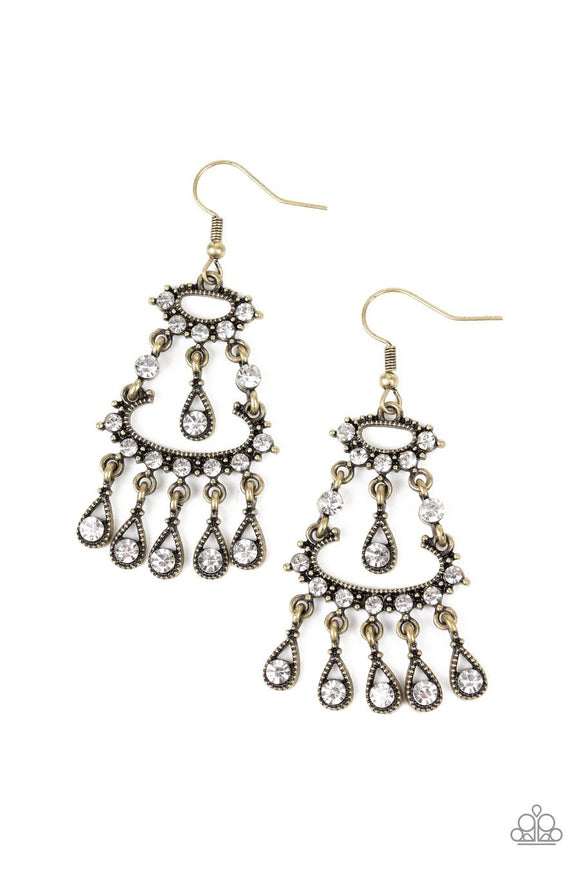 Paparazzi Chandelier Shimmer - Brass - White Rhinestones - Teardrop Fringe - Earrings