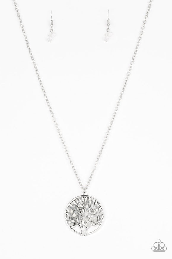 Paparazzi Naturally Nirvana - White Rock - Silver Tree of Life Pendant - Necklace and matching Earrings