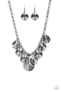 Paparazzi  Texture Storm - Black - Gunmetal Teardrops - Hammered Shimmer - Necklace and matching Earrings