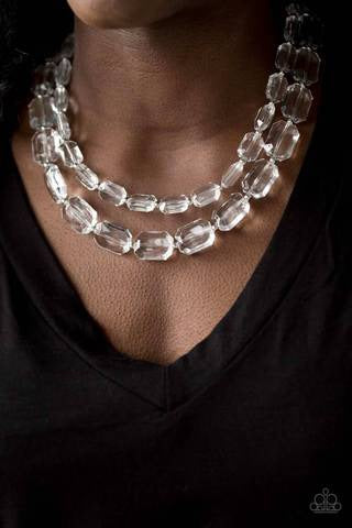Paparazzi Ice Bank White Necklace - Glitzygals5dollarbling Paparazzi Boutique