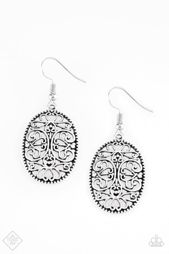 "Paparazzi ""Wistfully Whimsical"" Silver Earrings Fashion Fix Exclusive"