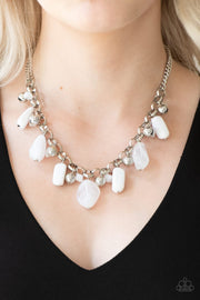Paparazzi Grand Canyon Grotto - White - Silver Necklace and matching Earrings