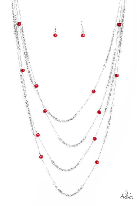 Paparazzi Open For Opulence - Red - Crystal Beads - Silver Chains Necklace and matching Earrings