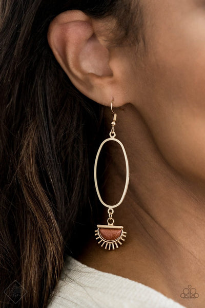 Paparazzi SOL Purpose - Gold - Earrings - Fashion Fix Exclusive July 2020