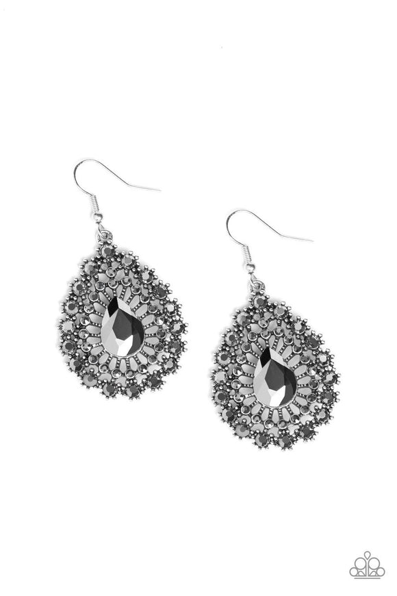 Paparazzi Insta Classic - Silver - Hematite Rhinestones - Teardrop - Earrings