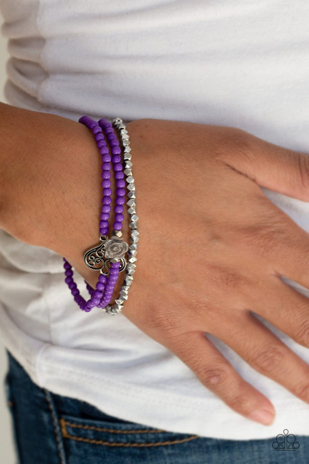 Paparazzi Lover's Loot Purple Beaded Bracelet - Glitzygals5dollarbling Paparazzi Boutique