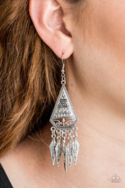 Me Oh MAYAN - Silver Paparazzi Earrings - Glitzygals5dollarbling Paparazzi Boutique