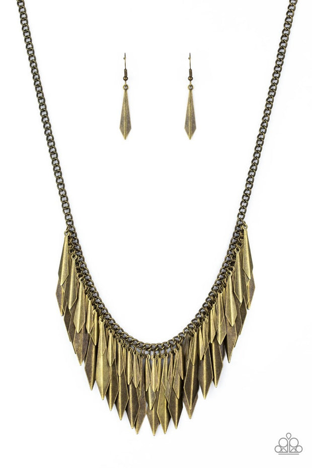 Paparazzi The Thrill-Seeker - Brass - Edgy Fringe Necklace and matching Earrings - Glitzygals5dollarbling Paparazzi Boutique
