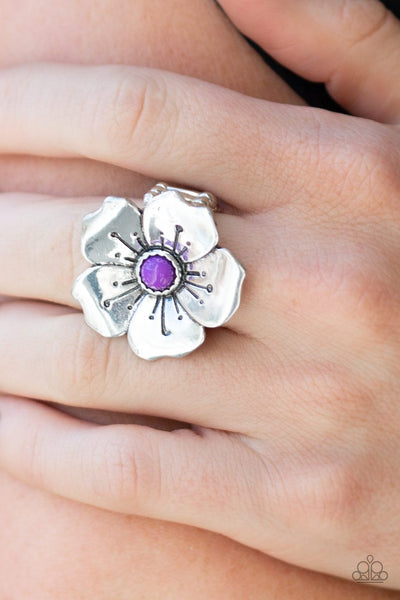 Paparazzi Boho Blossom - Purple Bead - Silver Ring - Glitzygals5dollarbling Paparazzi Boutique