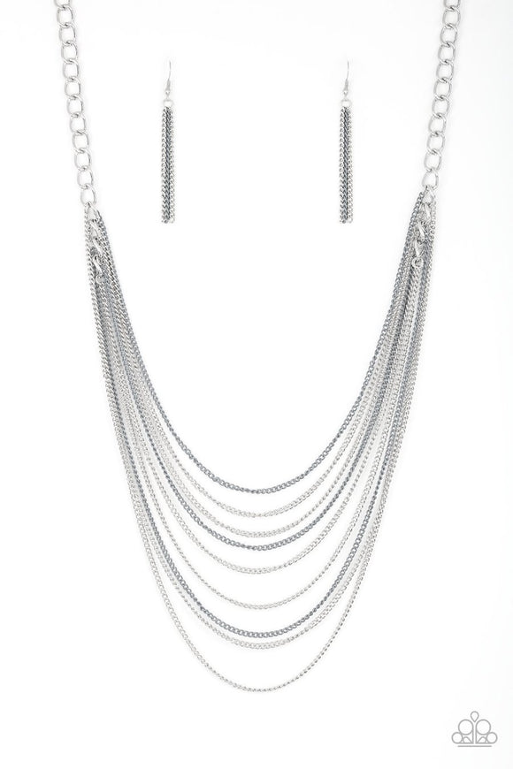 Paparazzi Rebel Rainbow - Silver - Bold Links - Silver Chains - Necklace and matching Earrings