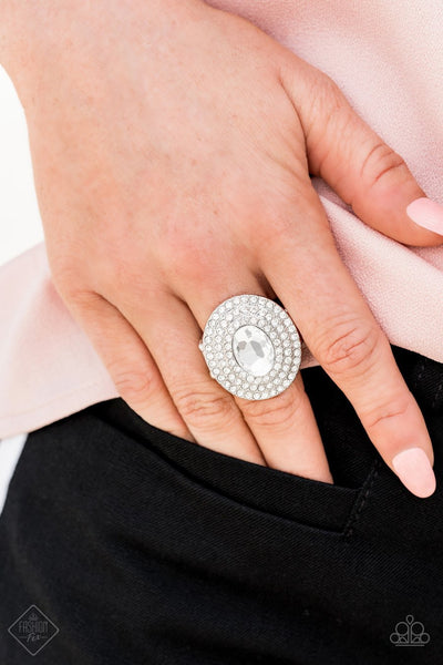Paparazzi Metro Millionaire - White - Oval Gem / Rhinestones - Silver Ring - Fashion Fix / Trend Blend Exclusive August 2019 - Glitzygals5dollarbling Paparazzi Boutique