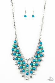 Paparazzi Your SUNDAES Best - Blue - Green and Silver Beads - Necklace & Earrings - Glitzygals5dollarbling Paparazzi Boutique