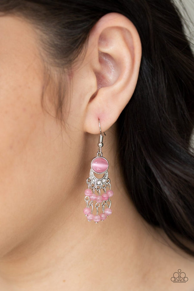 Paparazzi A Spring State Of Mind - Pink Moonstone - White Rhinestones - Earrings - Glitzygals5dollarbling Paparazzi Boutique