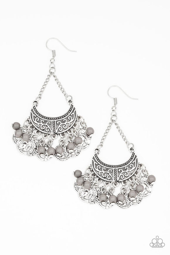 Paparazzi Sahara Treasure - Silver - Gray Beads - Ornate Silver Fringe - Earrings