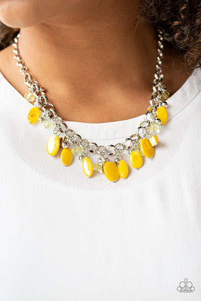 Paparazzi I Want To SEA The World - Yellow - Bold Silver Chain Necklace & Earrings - Glitzygals5dollarbling Paparazzi Boutique