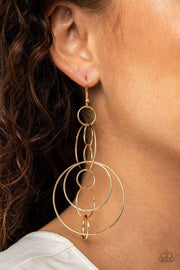 Paparazzi Earring ~ Running Circles Around You - Gold - Glitzygals5dollarbling Paparazzi Boutique