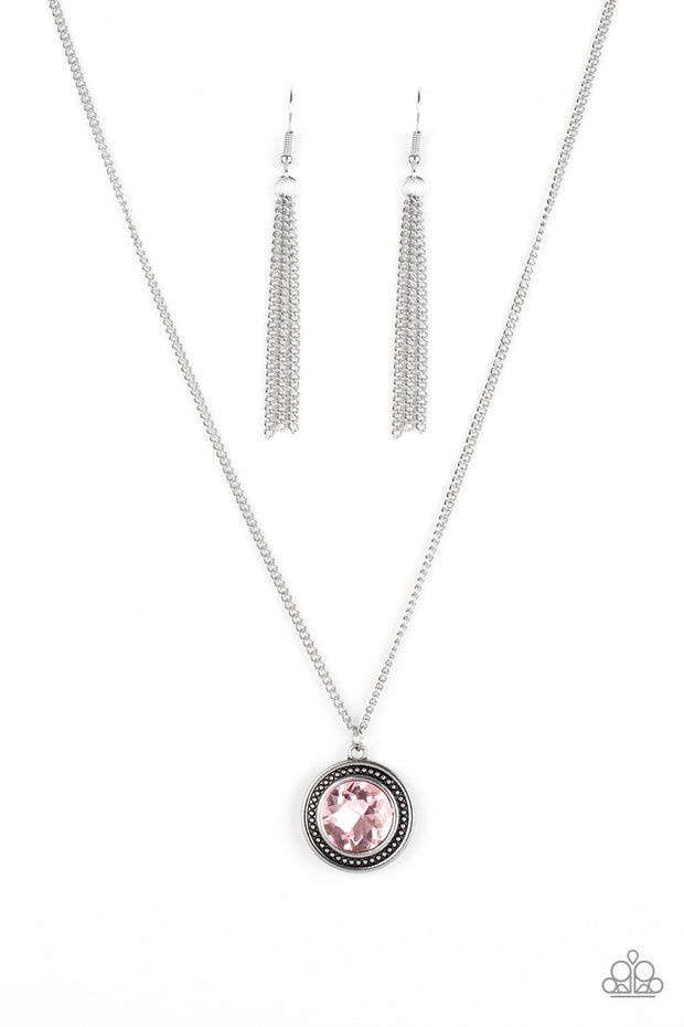 Paparazzi Mega Money - Pink Gem - Silver Glamorous Pendant - Necklace and matching Earrings - Glitzygals5dollarbling Paparazzi Boutique