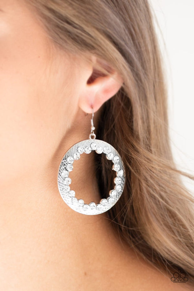 Paparazzi Gala Glitter - White - Rhinestones Earrings - Glitzygals5dollarbling Paparazzi Boutique