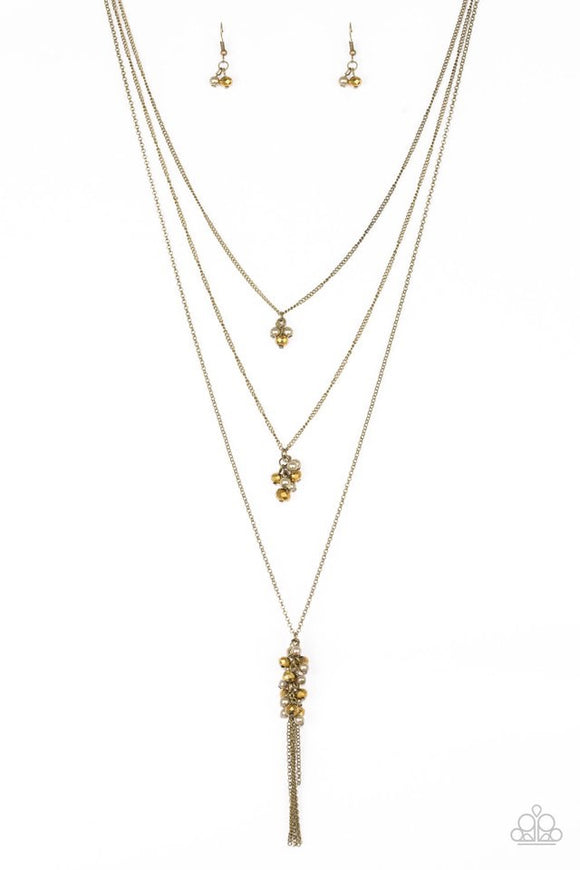 Paparazzi Crystal Cruiser - Brass Necklace