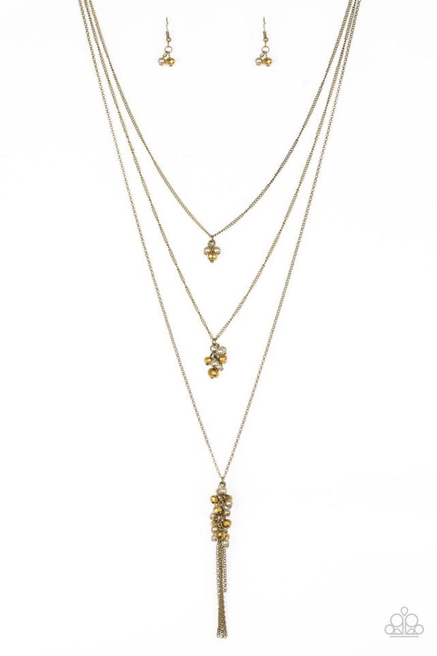 Paparazzi Crystal Cruiser - Brass Necklace - Glitzygals5dollarbling Paparazzi Boutique