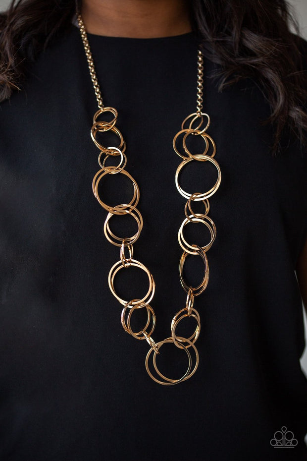 Paparazzi Natural-Born RINGLEADER - Gold Hoops - Thick Necklace and matching Earrings - Glitzygals5dollarbling Paparazzi Boutique