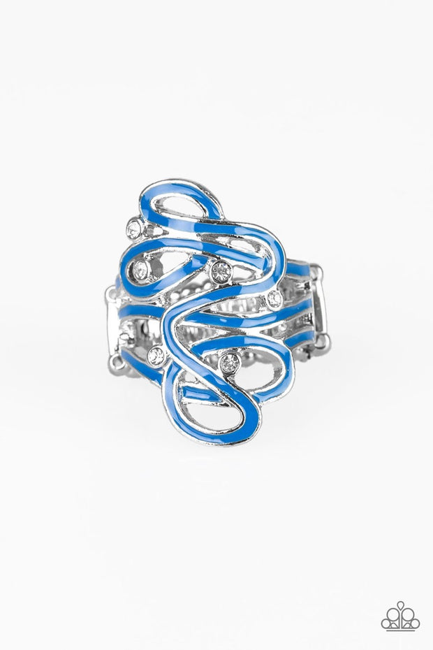 The Run Around - blue - Paparazzi ring - Glitzygals5dollarbling Paparazzi Boutique
