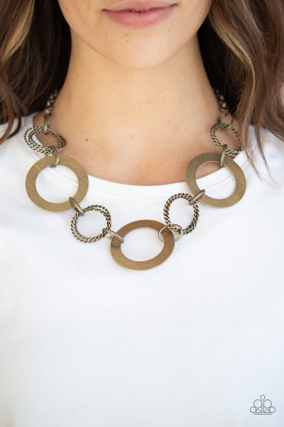 Paparazzi Ringed in Radiance - Brass Necklace - Glitzygals5dollarbling Paparazzi Boutique