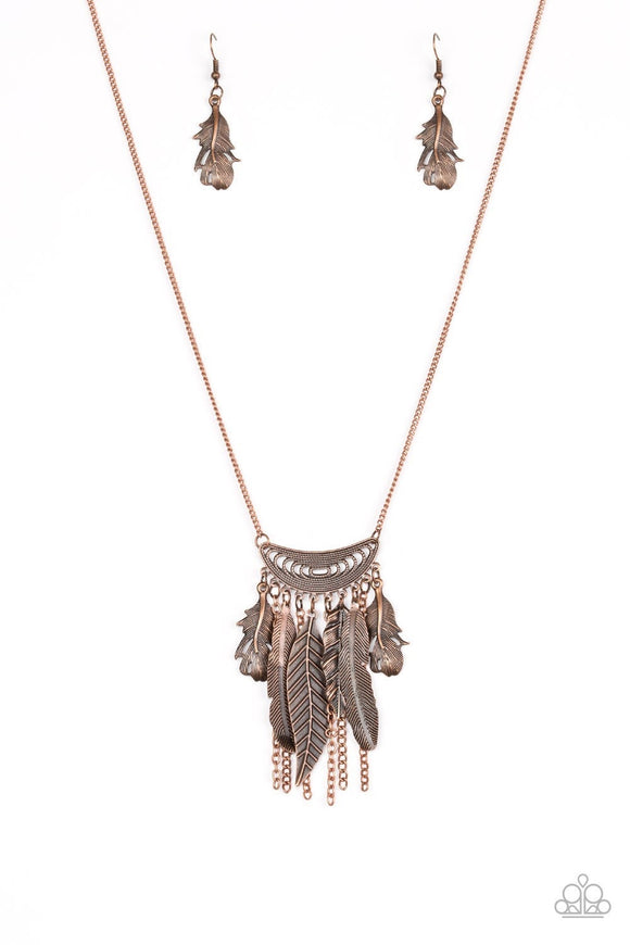 Paparazzi Fiercely Feathered Brass Fashion Fix Exclusive Necklace