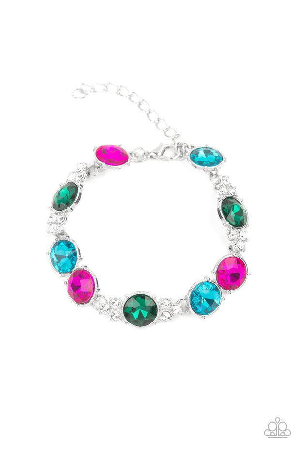 Paparazzi Care To Make A Wager? - Multi - Pink, Green, Blue, White, - Multicolored Rhinestones - Adjustable Bracelet - Glitzygals5dollarbling Paparazzi Boutique