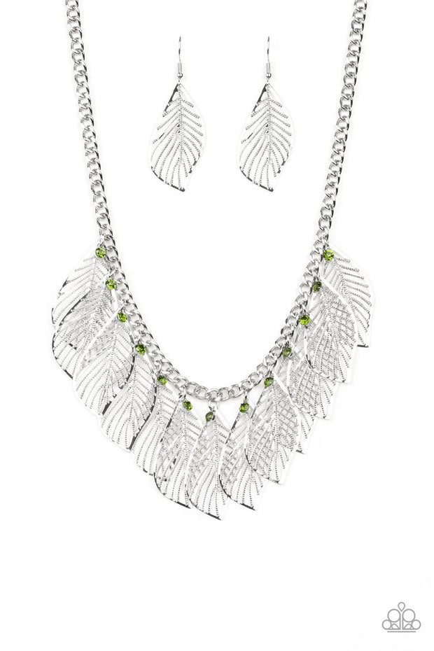 Paparazzi Feathery Foliage - Green Rhinestones - Leafy Silver Feathers - Necklace and matching Earrings - Glitzygals5dollarbling Paparazzi Boutique