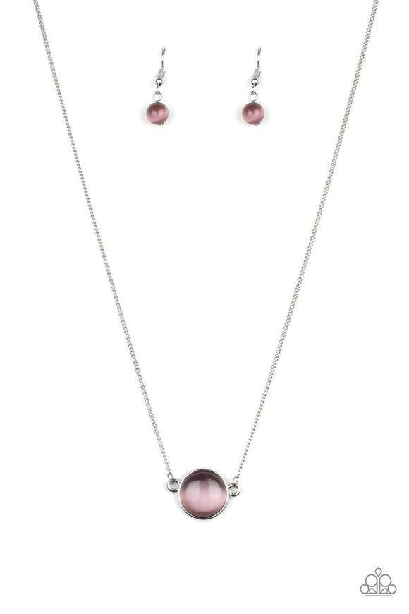 A glassy purple cat's eye stone attaches to a shimmery silver chain, creating a stationary pendant below the collar. Features an adjustable clasp closure.  Sold as one individual necklace. Includes one pair of matching earrings.  New Kit