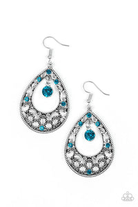 Paparazzi Gotta Get That Glow - Blue Rhinestones - Silver Filigree Earrings
