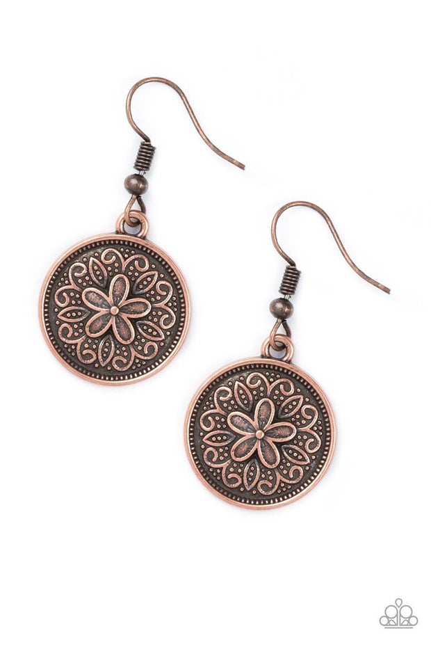 Paparazzi Seeking Star Lillies Copper Earrings - Glitzygals5dollarbling Paparazzi Boutique