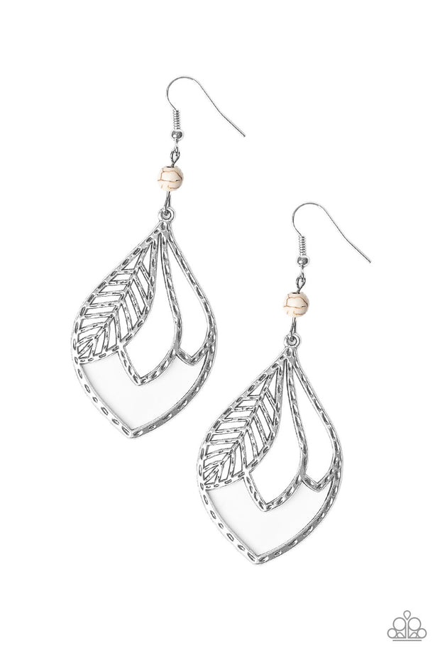 Paparazzi Absolutely Airborne White Feather Earrings - Glitzygals5dollarbling Paparazzi Boutique