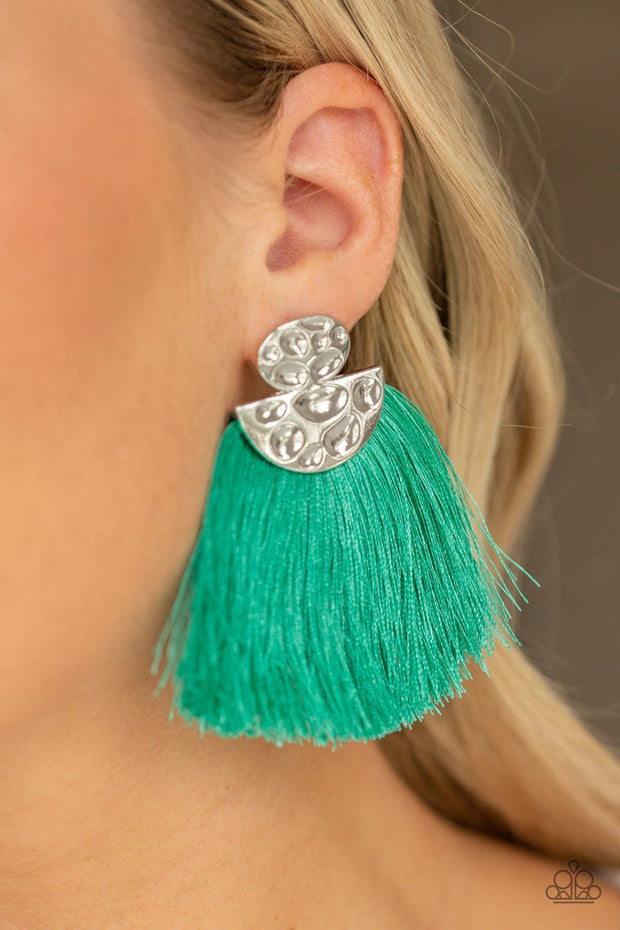 Paparazzi Make Some PLUME - Green Thread / Fringe / Tassel - Hammered Silver - Post Earrings - Glitzygals5dollarbling Paparazzi Boutique