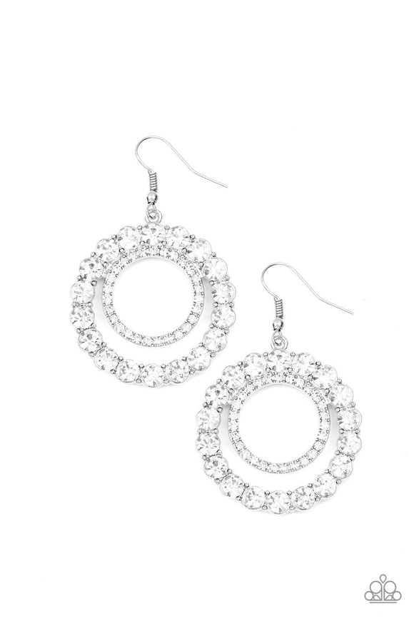 Paparazzi Spotlight Shout Out - White Rhinestones - Silver Statement - Hoop Earrings
