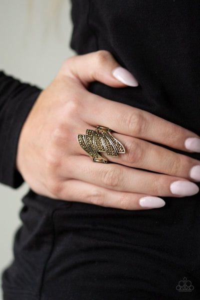 Majestically Monte Carlo - brass - Paparazzi ring - Glitzygals5dollarbling Paparazzi Boutique