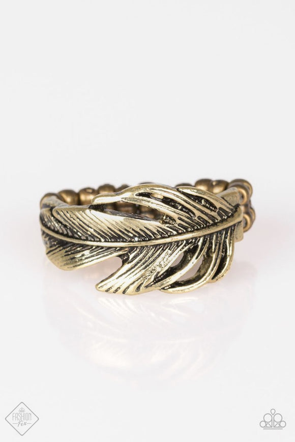 Paparazzi Just Gliding By Brass Feather Fashion Fix Exclusive Ring