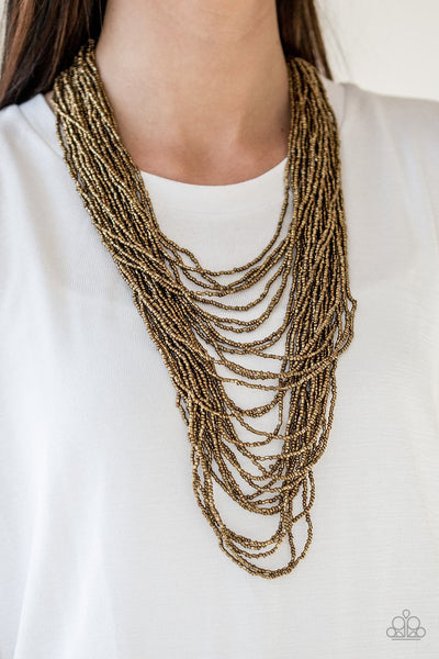 Paparazzi Accessories - Dauntless Dazzle - Brass Necklace - Glitzygals5dollarbling Paparazzi Boutique