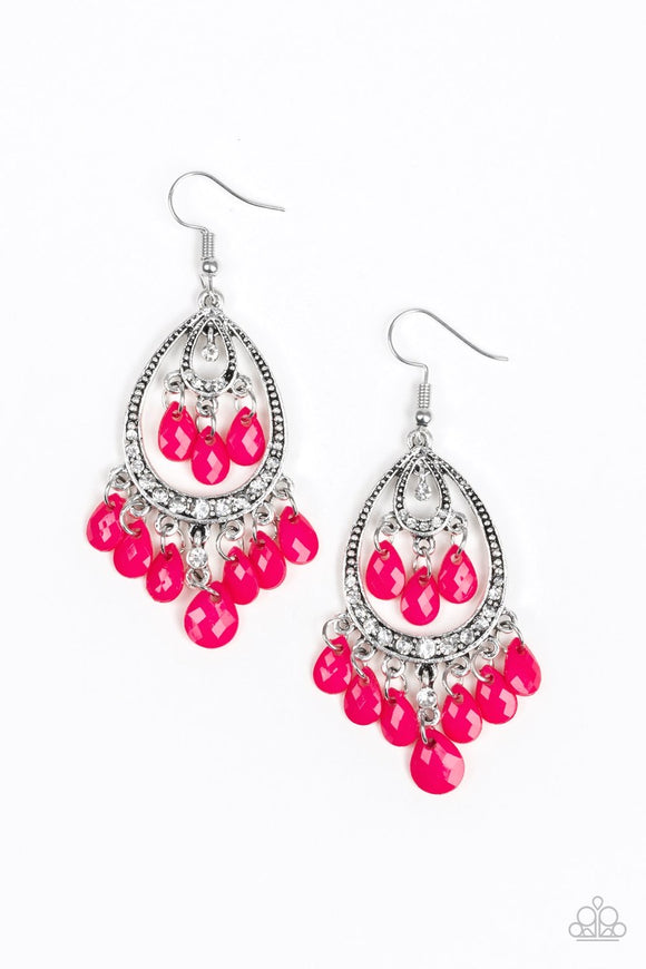 Paparazzi Gorgeously Genie - Pink - Peacock Teardrops - Studded Silver Frame - Earrings