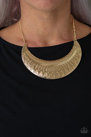 Paparazzi Large As Life - Gold - Half Moon Pendant - Necklace & Earrings - Glitzygals5dollarbling Paparazzi Boutique