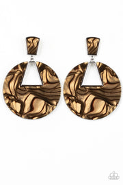 Paparazzi Let HEIR Rip! - Brown - Faux Marble Acrylic - Post Earrings - Glitzygals5dollarbling Paparazzi Boutique