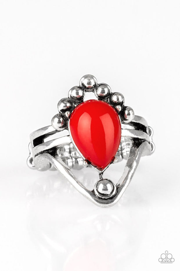 Paparazzi The Bold and The BEAD-iful - Red Bead - Silver Ring