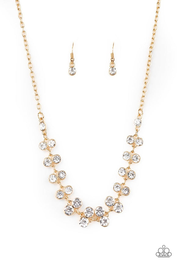 Paparazzi Super Starstruck - Gold - White Rhinestones - Necklace and matching Earrings
