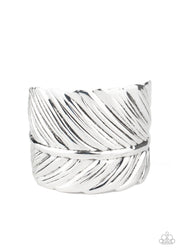 Paparazzi Where Theres a QUILL, Theres a Way - Silver Feather - Cuff Bracelet - Glitzygals5dollarbling Paparazzi Boutique