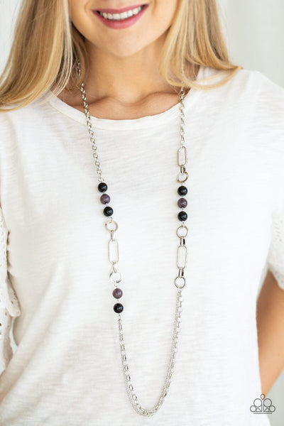 Paparazzi CACHE Me Out - Black Beads - Silver Chain Necklace and matching Earrings - Glitzygals5dollarbling Paparazzi Boutique