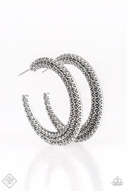 Paparazzi Talk About Texture Silver Hoop Earrings - Glitzygals5dollarbling Paparazzi Boutique